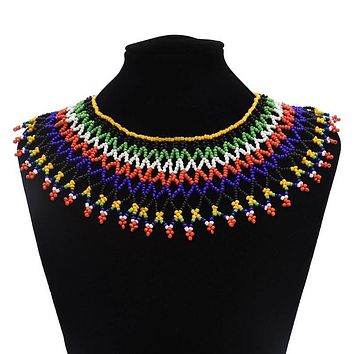 Red And Black Sparkle Maasai Beaded Collar Necklace