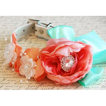Floral Peonies Blush, Peach and Mint Floral Dog Collar Pet wedding