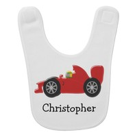 Red Racing Car Just Add Name Baby Bibs