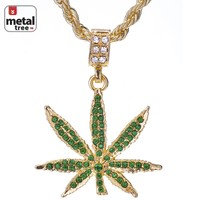 "Jewelry Kay style Men's Hip Hop Iced Out Blunt Weed Marijuana 24"" Rope Chain Pendant Necklace Set"