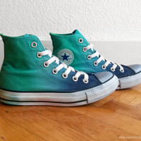 Jade green & navy blue ombre Converse, dip dye upcycled vintage sneakers, All Stars, Chucks, eu 36.5 (uk 4, us wo 6, us men's 4)