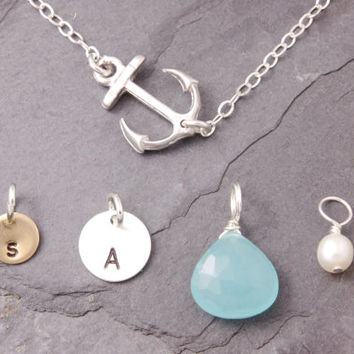 5-Way Necklace, anchor necklace, personalized jewelry, initial necklace, beach necklace, sister necklace, silver necklace, versatile, N14-3
