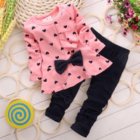 Baby Girl Clothing Set Heart-shaped Print Bow