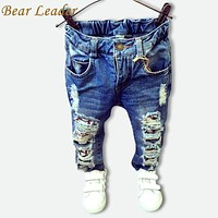 Children Broken Hole Pants Trousers Baby Boys Girls Jeans Kids Trousers Clothes