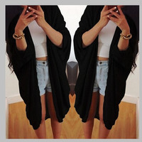 Black Half Sleeve Long Coat