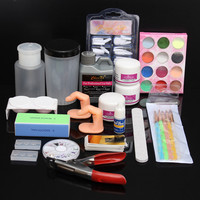 Professional Glitter Acrylic Powder Manicures File Tips Nail Art Set