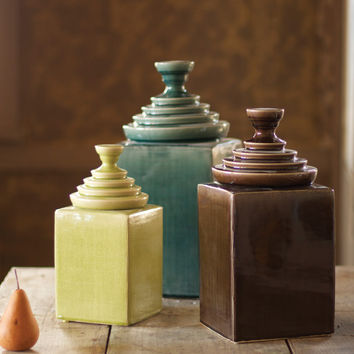 Set of 3 Textured Ceramic Canisters with Pyramid Tops