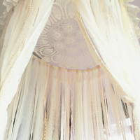 Shabby Chic Boho White & Pale Pink Dreamcatcher Canopy // Baby Nursery Decor // Home Decor // Bedroom Decor // Lace Crochet Doily Fabric