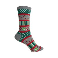 Peppermint Stripes and Dots Crew Socks in Gray Heather