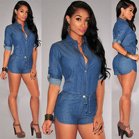 Women's Celeb MINI Skinny Playsuit Jumpsuit Summer Beach Short Romper Plus Size S-XXXL