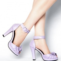 Knotted Ankle Strap Heel in Lilac