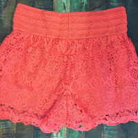 Wagon Wheel Lace Crochet Shorts Coral