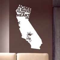 Home Is Where Your Heart Is Decal Sticker Wall vinyl California CA cool nice