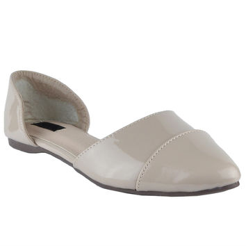 Womens Ballet Flats Pointy Toe Side Cutout Slip On Patent Leather Shoes Nude