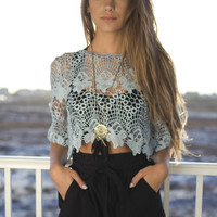 Off To Cali Misty Blue Crochet Crop Top