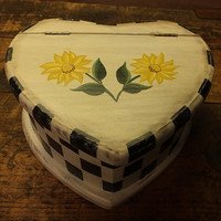 Folk Art Painted Sunflowers and  Black Checkered Primitive Distressed Wooden Heart Box