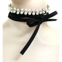 """70"""" pearl crystal faux suede tie wrap collar choker necklace"""