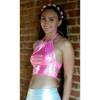 Holographic Hot Pink Dots Rave Halter Top EDC ultra coachella