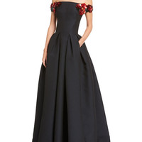 Zac Posen Off-the-Shoulder Gown with Floral Embellishments, Midnight
