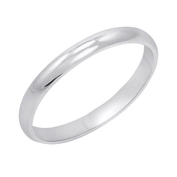 Women's 14K White Gold 2mm Traditional Plain Wedding Band  (Available Ring Sizes 4-8 1/2)