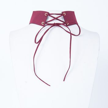 Suede Lace Me Up Choker