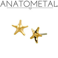 Anatometal: 18K Gold THREADLESS Starfish End