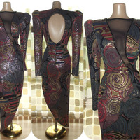 Vintage 80s JANINE Avant-Garde Dramatic Deep Plunge Mesh Mosaic Holographic Cocktail Dress Fishtail Gown One Of A Kind Large