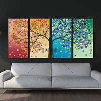 Unframe Wall Art  Canvas Painting Decoration For Living Room picture Colourful Leaf Trees Wall Art Spray Wall Painting Home