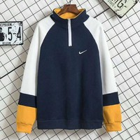 Nike High Quality Men Fashion Casual Long Sleeve High Neck Pullover Sweater Grey G-A-HRWM