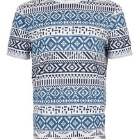 Navy Patterned Printed T-Shirt - New In - TOPMAN USA
