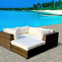 Outdoor Modern Patio Wicker Furniture Sofa Sectional 4pc Backyard Rattan Resin Couch Set