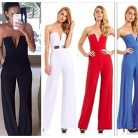 Summer Bandeau Strapless Off Shoulder Women Jumpsuit Overalls Trousers Pants = 5617154433