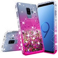 Samsung Galaxy S9 Case Liquid Glitter Phone Case Waterfall Floating Quicksand Bling Sparkle Cute Protective Girls Women Cover for Galaxy S9 - Hot Pink