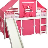 Savannah White Loft Bed with Slide