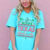 Jadelynn Brooke Texas Made Me (Heather Seafoam) - Short Sleeve / V-Neck