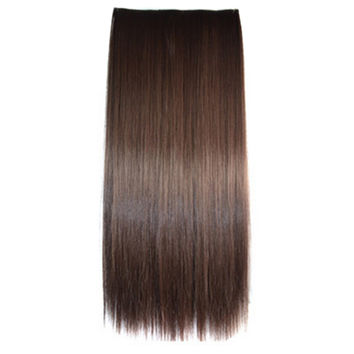 5 Cards Long Straight Hair Extension Wig brown black