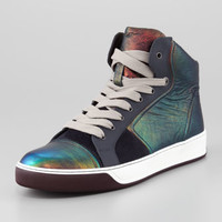 Lanvin Iridescent Leather High-Top Sneaker
