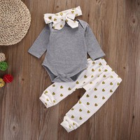 Autumn cotton 0-18M Newborn toddler infant princess Heart Baby Girl Infant Top Shirt+Pant Legging+Headband Outfit Set Clothing