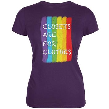 Gay Pride LGBT Closets Are For Clothes Purple Juniors Soft T-Shirt