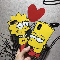 3D Cartoon Cute Simpson Mr Mrs Soft Silicone Case For iphone X Xs 7 8 6 6s Plus Lovely Anti knock Rubber Gel Phone Cover Coque