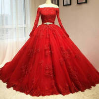 2017 Hot Red Quinceanera Dress Boat Neck Long Sleeves Lace Beaded Ball Gown Sweet 16 Dress vestidos de 15 anos rosa