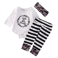 born Baby Clothes Cotton Baby set Floral Baby Girl Clothes Romper+Stripe Pants Leggings +Headband Outfit