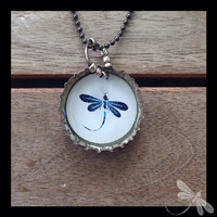 Hello Dragonfly Recycled Bottle Cap Necklaces N78
