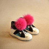 IN Stock Real Fox Fur~~2016 NEW Children Leather Boots Autumn-Winter Child Sneakers Leisure High End Boys,Girls Shoes Kids Boot