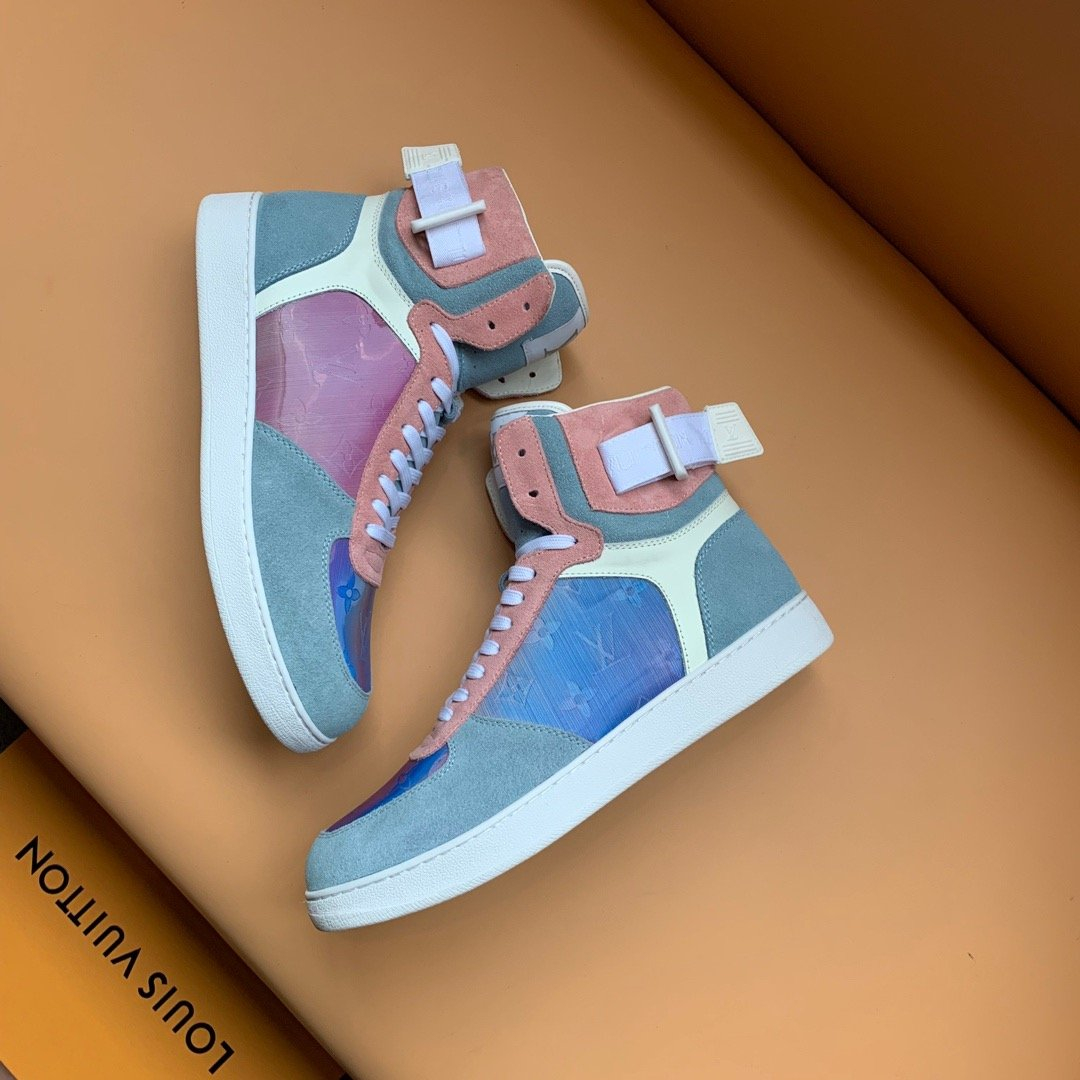 Image of LV Louis Vuitton Men's Leather Rivoli High Top Sneakers Shoes