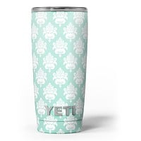 The Mint Green Decorative Pattern - Skin Decal Vinyl Wrap Kit compatible with the Yeti Rambler Cooler Tumbler Cups