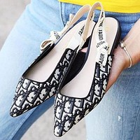 Dior CD high-quality letter belt flat shoes female sexy bow tie cat heel pointed high heels