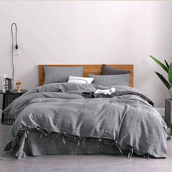 Chambray Linen Bed in a Bag 5 Piece Simple Duvet Cover & Sheets Set in 11 Colors