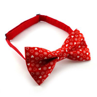 Red heart print bow tie – pre tied adjustable – mens or womens – adult size – Valentines bowtie