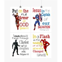 Christian Superhero Little Boys Room Nursery Decor Set of 4 Prints - Captain America, Flash, Ironman and Black Panther with Bible Verses